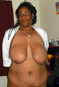 Seventy black granny with big saggy tits